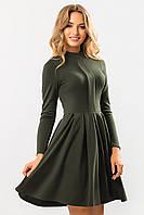 Стильное женское платье со складкой и стойкой из джерси,юбка клеш,длинный рукав