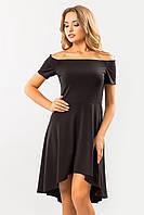 Вечернее женское черное платье с открытыми плечами и ассиметричной юбкой Неаполь