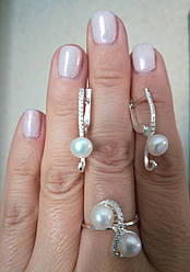 Комплект серебряных ювелирных украшений с  жемчугом