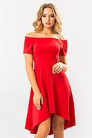 Вечернее женское красное платье с открытыми плечами и ассиметричной юбкой Неаполь