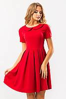 Женское нарядное красное платье с круглым воротником и юбкой клеш