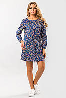 Модное джинсовое платье-рубашка свободное с кулиской, узор пейсли