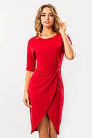 Элегантное нарядное красное платье с запахом и поясом