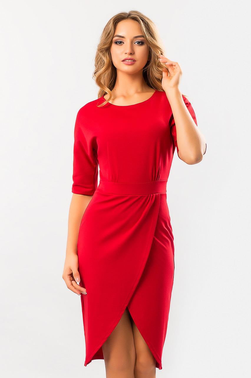 40abf18d92a Элегантное нарядное красное платье с запахом и поясом -