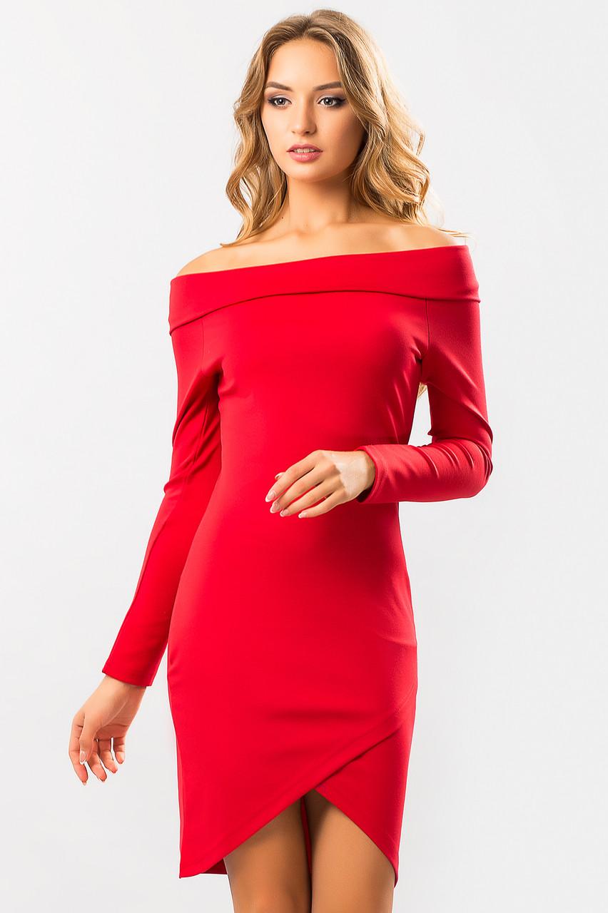 9291958e3e5 Нарядное красное платье-хомут с открытыми плечами и длинным рукавом на  запах -