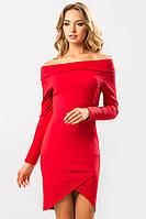 Нарядное красное платье-хомут с открытыми плечами и длинным рукавом на запах