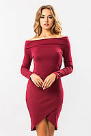 Нарядное бордовое платье-хомут с открытыми плечами и длинным рукавом на запах