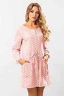 Летнее женское льняное свободное платье-рубашка розовое в горох с карманами