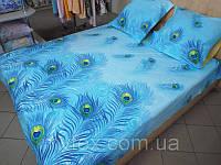 "Ткань для пошива постельного белья поплин Перо жарптицы голубой /""Чарівна Ніч"""