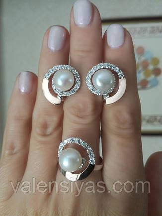 Ювелирные украшения кольцо и серьги с жемчугом, фото 2
