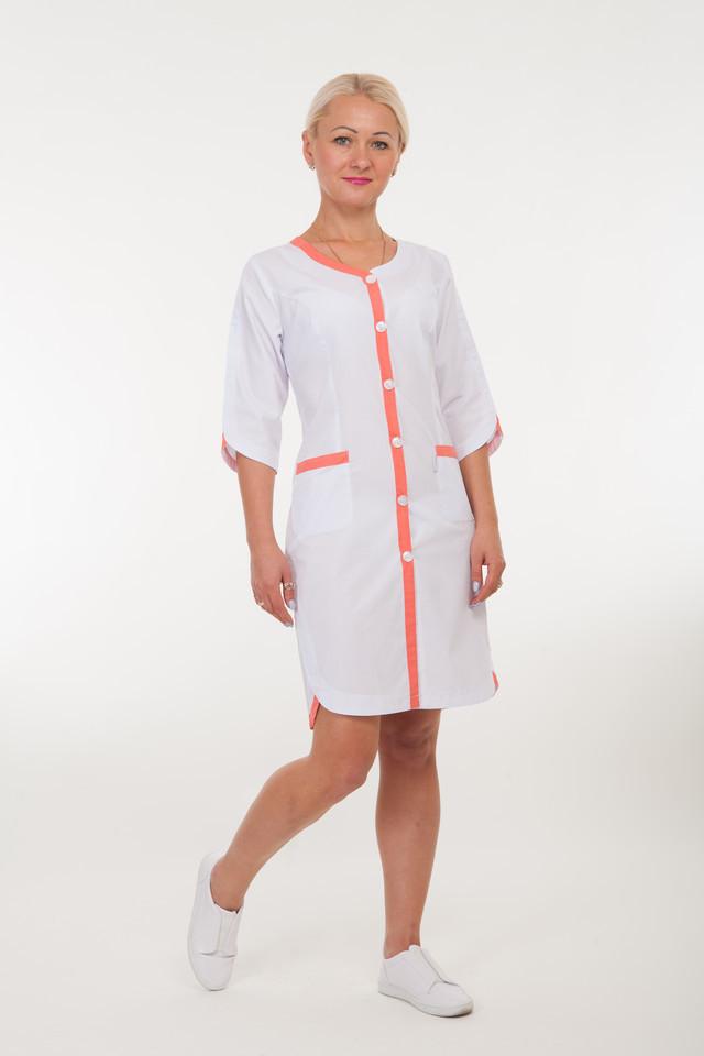 f7355081aee Модный медицинский халат с оранжевыми вставками размера 40-60 ...