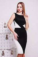 Черно-белое офисное женское облегающее платье до колен, без рукавов День и ночь Лоя-2Ф б/р