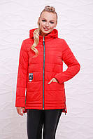 Модная женская удлиненная курточка с капюшоном на молнии красного цвета Куртка 11
