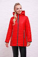 Модная женская демисезонная красная куртка с капюшоном на молнии с длинными застёжками Куртка 12