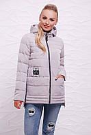 Модная женская удлиненная курточка с капюшоном на молнии серого цвета Куртка 11