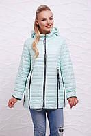 Модная женская демисезонная мятная куртка с капюшоном на молнии с длинными застёжками Куртка 12