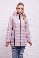 Модная женская демисезонная пудровая куртка с капюшоном на молнии с длинными застёжками Куртка 12