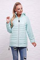 Женская демисезонная длинная куртка с капюшоном на молнии вязаные рукава реглан Мятная Куртка 15