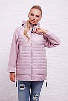 Женская демисезонная длинная куртка с капюшоном на молнии вязаные рукава реглан Пудровая Куртка 15