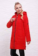 Женская красная демисезонная куртка на молнии в спортивном стиле с капюшоном Куртка 17-033