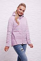 Светло-сиреневая женская демисезонная короткая куртка на молнии с капюшоном, с красивой отделкой Куртка 17-07
