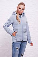 Серо-голубая женская демисезонная короткая куртка на молнии с капюшоном, с красивой отделкой Куртка 17-07