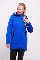 Стильная удлиненная женская демисезонная куртка-жилетка с капюшоном цвет электрик Куртка 17-097