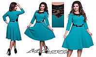 Нарядное  бирюзовое платье креп-трикотаж, комбинированый с сеткой и эко-кожей  размеры: 48,50,52,54