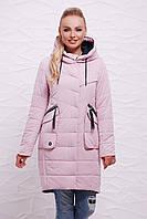 Женская длинная демисезонная куртка с капюшоном и объемными карманами цвет пудра Куртка 17-137