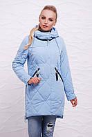 Модная осеняя женская голубая куртка с капюшоном и карманами на молнии, стежка ромб Куртка 17-135