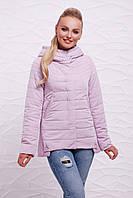 Стильная женская короткая осеняя куртка светло-сиреневого цвета с капюшоном, отделка треугольники Куртка 17-19