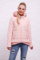 Женская демисезонная персиковая куртка на молнии с капюшоном и фактурной удлиненной спинкой Куртка 17-25