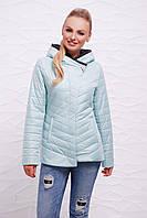 Женская короткая демисезонная мятная куртка с капюшоном, стеганная с застёжкой на одну сторону Куртка 17-62