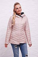Женская короткая демисезонная бежевая куртка с капюшоном, стеганная с застёжкой на одну сторону Куртка 17-62