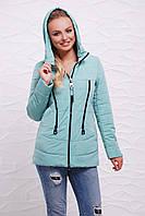 Женская короткая мятная курточка в спортивном стиле на молнии с капюшоном и змейками спереди Куртка 17-756