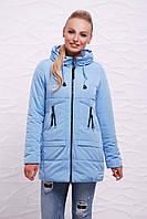 Голубая демисезонная женская курточка на молнии с капюшоном, оригинальные карманы Куртка 17-768