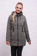 Серо-бежевая демисезонная женская курточка на молнии с капюшоном, оригинальные карманы Куртка 17-768