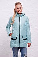Женская осеняя прямая стеганая курточка на змейке с капюшоном Мятная Куртка 87