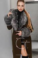 Зимнее длинное пальто с меховой опушкой