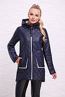 Женская осеняя прямая стеганая курточка на змейке с капюшоном Темно-синяя Куртка 87