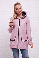 Женская осеняя прямая стеганая курточка на змейке с капюшоном Пудровая Куртка 87