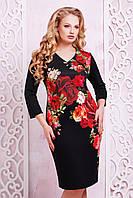 Нарядное трикотажное черное платье по фигуре с треугольным декольте принт Розы Калоя-2Б д/р, большие размеры