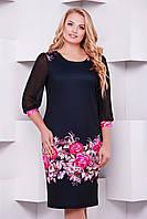 Женское черное нарядное прямое платье большие размеры, с узором внизу Цветочная композиция Талса-1Б д/р
