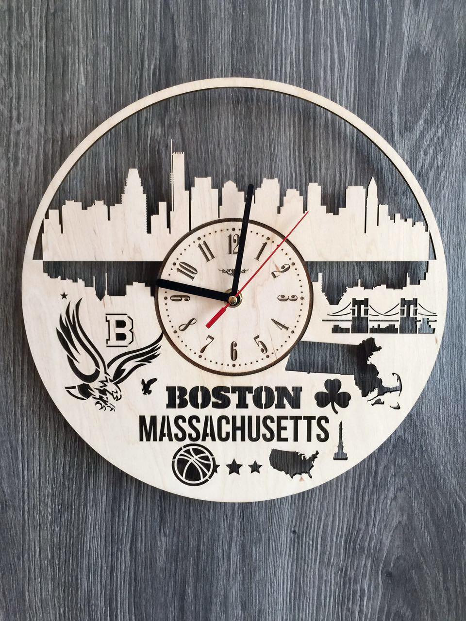 Дизайнерские часы на стену «Бостон, Массачусетс»