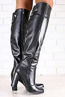 Демисезонные и зимние женские сапоги-ботфорты, кожаные, на байке, черные, на высоком устойчивом каблуке