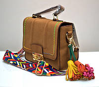 Стильная молодёжная женская сумка VTTV клатч светло-коричневая