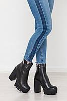 Ботинки женские на каблуке натуральная кожа/замш