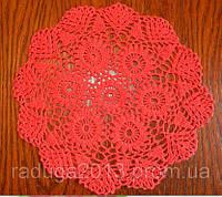 Скатерть- салфетка D 26.5 cm, красная вязанная крючком, ручная работа