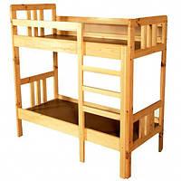 Кровать детская 2-ярусная из натурального дерева