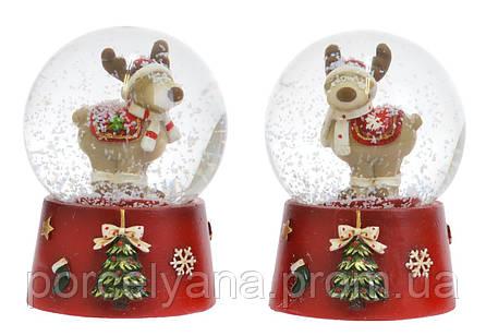 Снежный шар стеклянный Новый Год 6,5см оленёнок